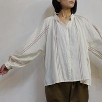 ARTE POVERA アルテポーヴェラ コットンテンセルワイドストライプギャザリングシャツ #白、ダークオレンジ 【送料無料】