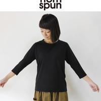 homspun ホームスパン 30/-天竺7分袖Tシャツ #サラシ、ピンク、グリーン、TOPネイビー、ブラック