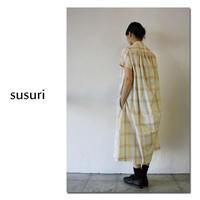 susuri ススリ サマーヘムレンチェックシャツワンピース #old beige 【送料無料】