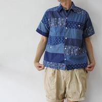 FUNSET OF ART ファンセットオブアート 藍IDG抜染ボーダーファーブルシャツ #インディゴ 【送料無料】