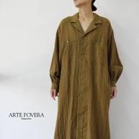 ARTE POVERA アルテポーヴェラ コットンリネンへリンボン起毛オープンカラーワンピース #キャラメル 【送料無料】