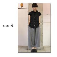 susuri ススリ ロビーシャツ #ホワイト、ブラック 【送料無料】