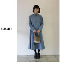 susuri ススリ ヘムレンシャツワンピース #blue grey、greenish black【送料無料】