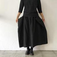 homspun ホームスパン コットンギャバギャザースカート #ブラック 【送料無料】