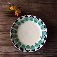 やちむん リム皿(7寸)/花弁(青緑)/宮城正幸