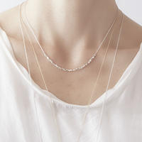 square beads necklace 08N101  / silver