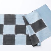 帯揚げ 花織地紋市松ぼかし チャコールグレー*ブルー 022208