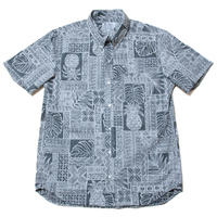 Men's Hawaiian Button Down Shirts - Pineapple Kapa Black