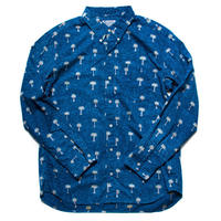 Men's Hawaiian Button Down Long Sleeve Shirts - Palm Trees Blue