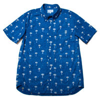 Men's Hawaiian Button Down Shirts - Palm Trees Blue