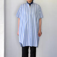 Houttuynia cordata スタンドカラーチュニック 半袖  blue stripe