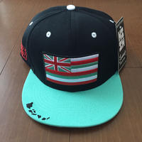 "HAWAII'S FINEST ""HAE FLAG"" SNAP BACK HAT  TEAL/BLK"