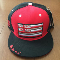 "HAWAII'S FINEST ""HAE FLAG"" SNAP BACK HAT  RED/BLK"