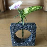 溶岩石デザイン一輪挿し角 花 花瓶 おしゃれ インテリア 溶岩 ガラス管