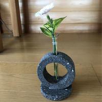 溶岩石デザイン一輪挿し丸 花 花瓶 おしゃれ インテリア  溶岩 ガラス管