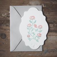 "Letterpress Card ""花鳥風月/蝶 雲形"