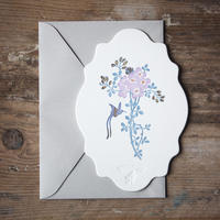 """Letterpress Card """"花鳥風月/鳥 雲形"""