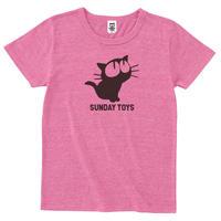 見上げる黒猫トライブレンドTシャツ[H.PINK]