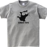 見上げる黒猫 Tシャツ [ヘザーグレー]