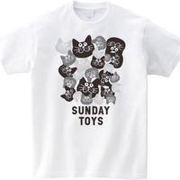 猫だらけモノトーン Tシャツ