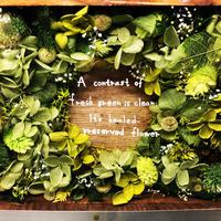 木箱に入ったグリーンなプリザーブドフラワー