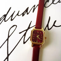 オクタゴン ワインレッド時計