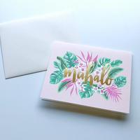 グリーティングカード mahalo/マハロ ピンク フローラル