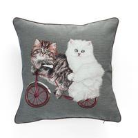 あべっく猫のジャカード織クッション(背景色:グレー)