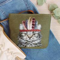 ジャカード織インディアン猫のポーチ