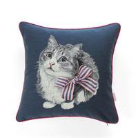 ストライプリボン猫のジャカード織クッション(背景色:ネイビー)