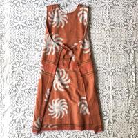 Plaid Printed Apron Dress (Orange)
