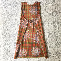 Plaid Printed Apron Dress (Red)