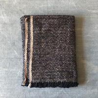 Gara-bou Blanket Stole Kabe 100×190cm (Herringbone - Navy gray)