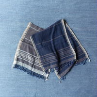 Organic Khadi Basket Face Towels (Indigo Gray / Indigo Black)