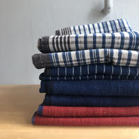 Organic Khadi Pillow Case (Madras / Indigo Pin Stripe / Indigo / Alizarin Red)