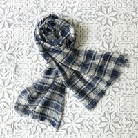 TC Khadi Border & Plaid Stole (Navy Plaid)