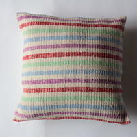 Gara-bou × Khadi Cushion Cover (Rainbow Border)