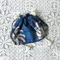 Plaid Printed Drawstring Bag L (Blue)