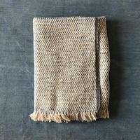 Gara-bou Blanket Stole Kabe 100×190cm (Herringbone - Ivory indigo)
