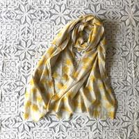 #150 Khadi Badala Flower Print Big Stole 55×180 (Yellow)