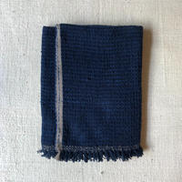 Gara-bou Blanket Stole Kabe 100×190cm (Dark Indigo Pin Border)