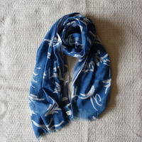 Indigo Discharge Printing Stole (Leaves)