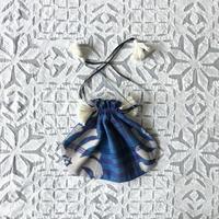 Plaid Printed Drawstring Bag S (Blue)