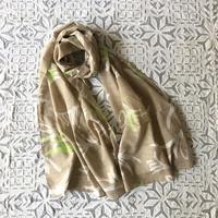 #150 Khadi Leaf Printed Stole 53 × 180cm  (Beige)