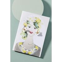 Garden Girl Earrings & Postcard White