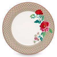 Floral dinner plate Rose  Khaki
