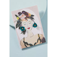 Garden Girl Earrings & Postcard Blue