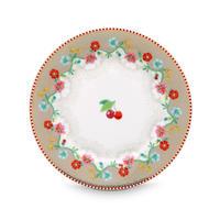 Floral Plate Cherry  Khaki