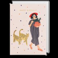 birthday card 女の子とネコ