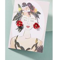 Garden Girl Earrings & Postcard red